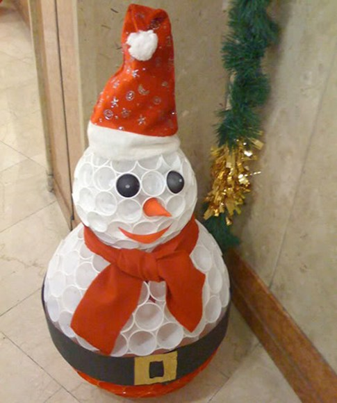 Christmas diy project plastic cup snowman sulekha home talk for Snowman made out of cups